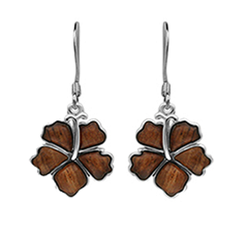 Sterling Silver Koa Hibiscus Earrings - 12mm Dangle