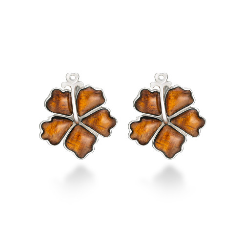Sterling Silver Koa Hibiscus Earrings