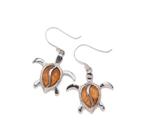 Sterling Silver Koa Petro Honu Earrings - Dangle