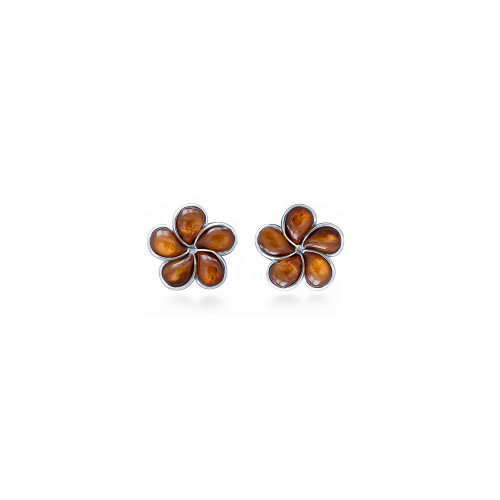 Sterling Silver Koa Plumeria Earrings -  8mm