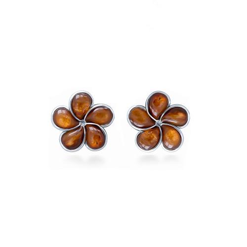 Sterling Silver Koa Plumeria Earrings - 12mm