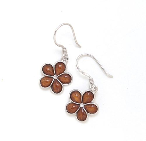 Sterling Silver Koa Plumeria Earrings - 12mm Dangle