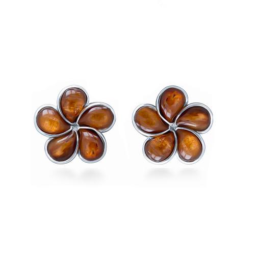 Sterling Silver Koa Plumeria Earrings - 15mm