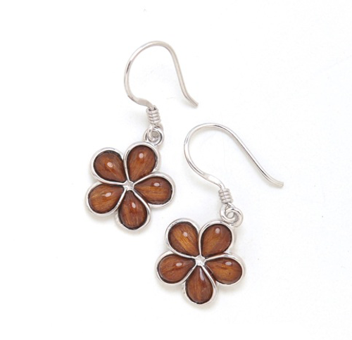 Sterling Silver Koa Plumeria Earrings - 15mm Dangle