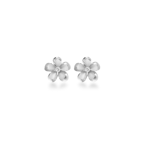 Sterling Silver Plumeria Earrings -  8mm