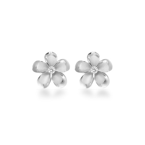Sterling Silver Plumeria Earrings - 12mm