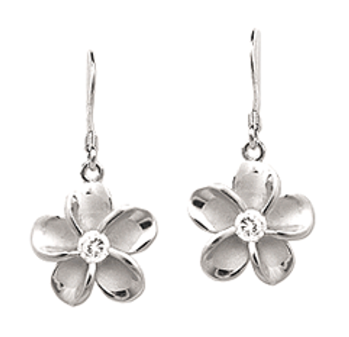 Sterling Silver Plumeria Earrings - 12mm Dangle