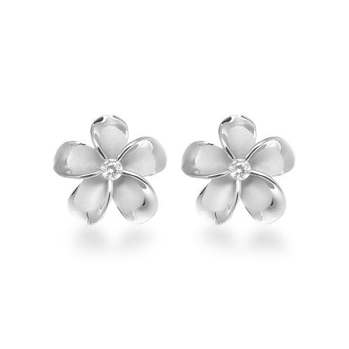 Sterling Silver Plumeria Earrings - 15mm
