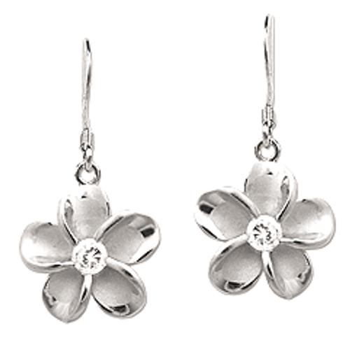 Sterling Silver Plumeria Earrings - 15mm Dangle