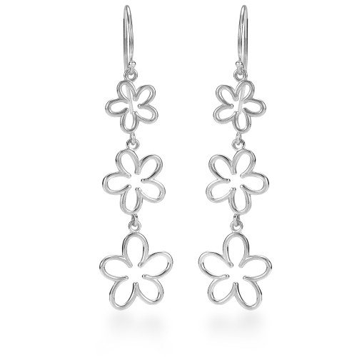 Sterling Silver Plumeria Earrings - Open 3 Flower Dangle