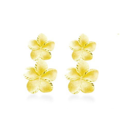 14K Plumeria Icicle Earrings 2 Flower