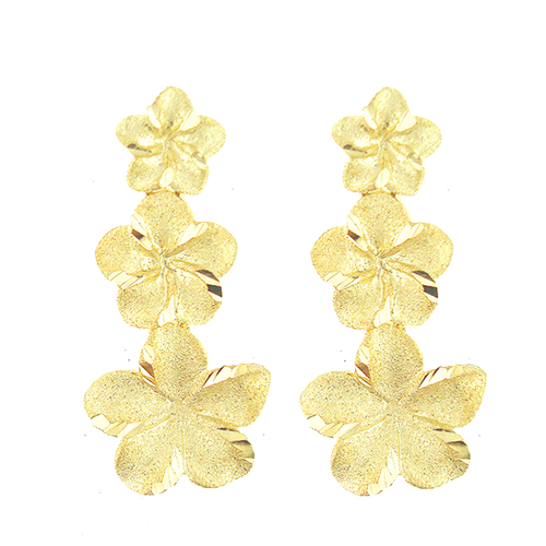 14K Plumeria Earrings - Icicle 3 Flower (EME04044)