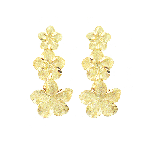 14K Plumeria Icicle Earrings 3 Flower (Med)