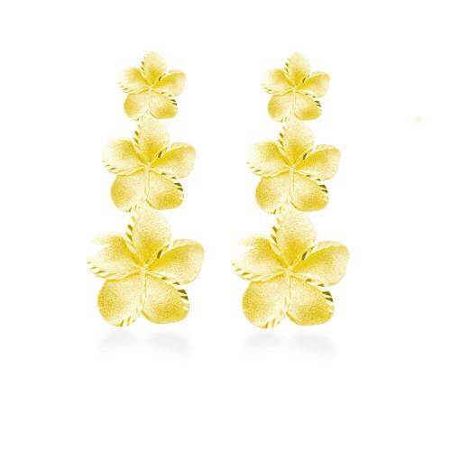 14K Plumeria Icicle Earrings 3 Flower (Lrg)