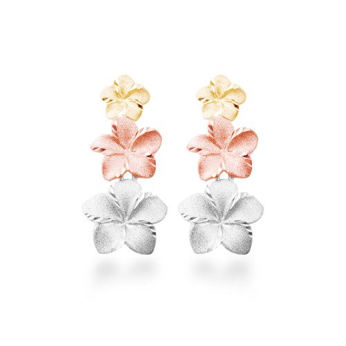 14K Plumeria Anuenue Earrings 3 Flower (Med)