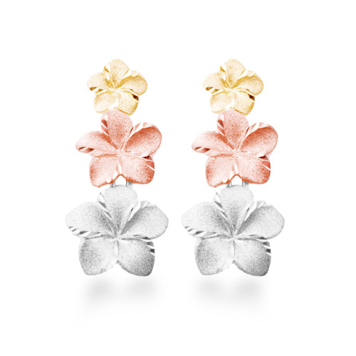 14K Plumeria Anuenue Earrings  3 Flower (Lrg)