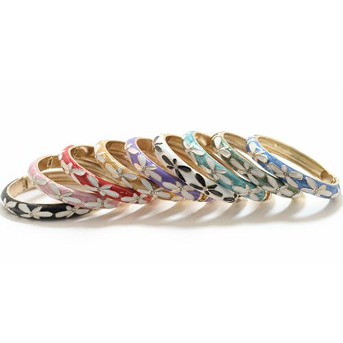 Enamel Fashion Bracelet -  Plumeria