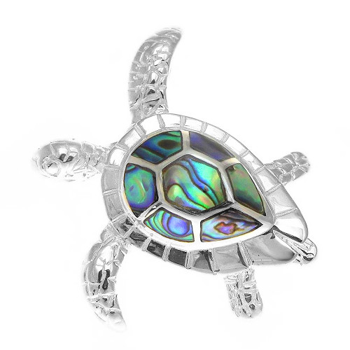 Sterling Silver Abalone Turtle Pendant - Lrg