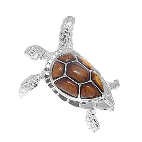 Sterling Silver Koa Turtle Pendant - Lrg