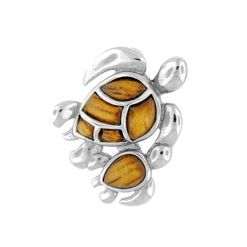 Sterling Silver Koa Turtle Pendant - Mom & Baby