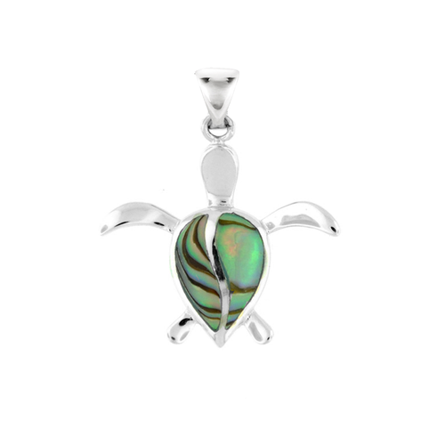 Sterling Silver Abalone Petro Honu Pendant - Sm