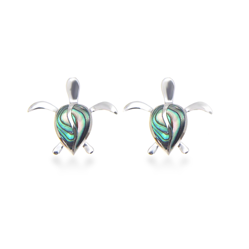 Sterling Silver Abalone Petro Honu Earrings