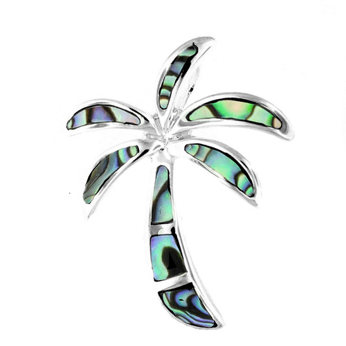 Sterling Silver Abalone Palm Tree Pendant