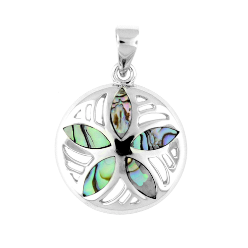Sterling Silver Abalone Sand Dollar Pendant