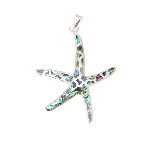 Sterling Silver Abalone Starfish Pendant - Sm
