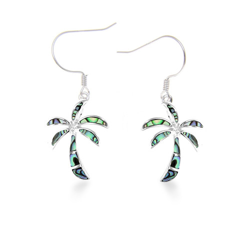 Sterling Silver Abalone Palm Tree Earrings