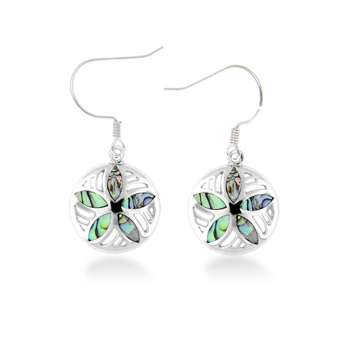 Sterling Silver Abalone Sand Dollar Earrings