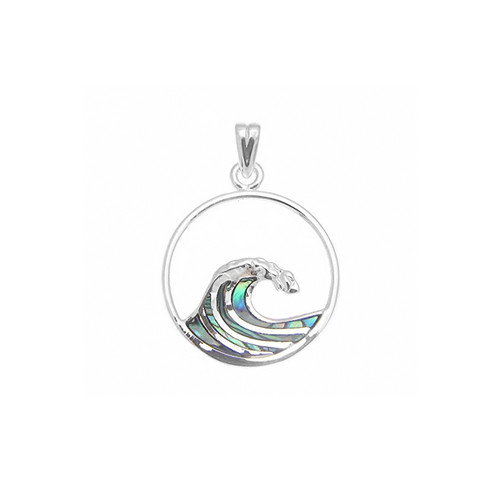Sterling Silver Abalone Nalu Wave Pendant Med