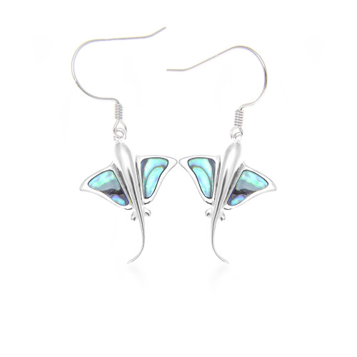 Sterling Silver Abalone Sting Ray Earrings