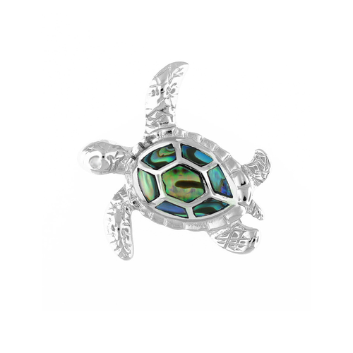 Sterling Silver Abalone Turtle Pendant - Sm