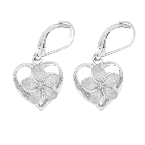 Sterling Silver Plumeria Earrings - Royal Heart