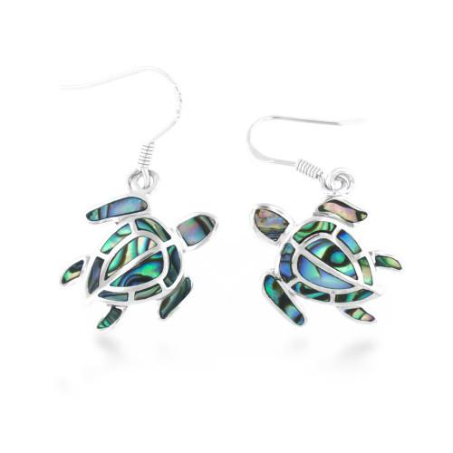 Sterling Silver Abalone Turtle Makauliʻi Earrings