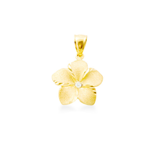14K Plumeria Pendant - Icicle 13mm w/ Diamond