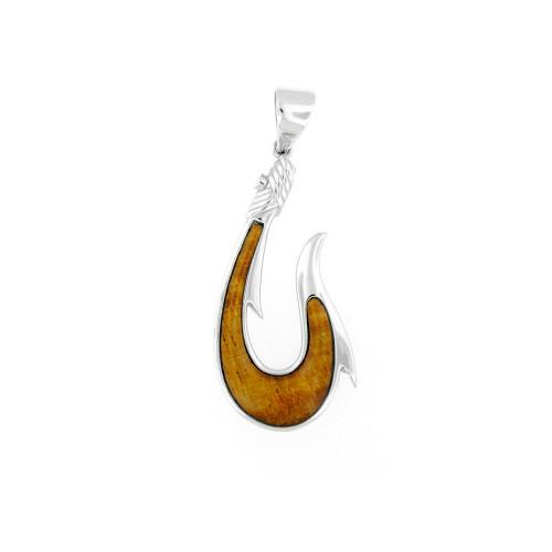 Sterling Silver Koa Makau Fishhook Rope Pendant  - Sm