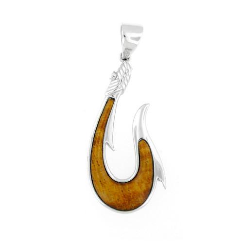 Sterling Silver Koa Makau Fishhook Rope Pendant  - Lrg