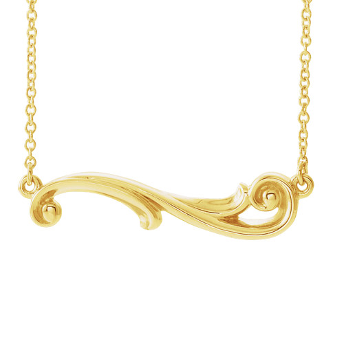 14K Hawaiian Free Form Scroll Necklace