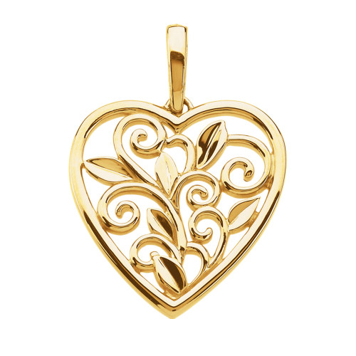 14K Hawaiian Heart Cut Out Scroll Pendant