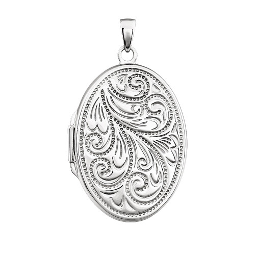 Sterling Silver Locket Oval Pendant