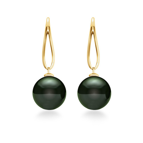 14K Tahitian Pearl Earrings Open Teardrops