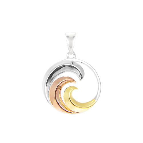 Sterling Silver Tri-Color Nalu Pendant - Sm