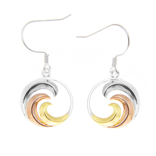 Sterling Silver Tri-Color Nalu Earrings