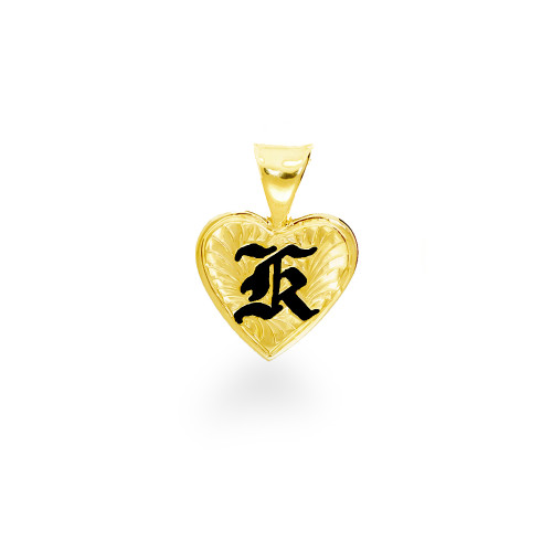 14K Hawaiian Heart Initial Pendant - 12mm