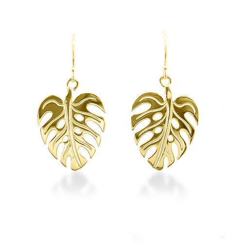 14K Hawaiian Monstera Leaf Earrings