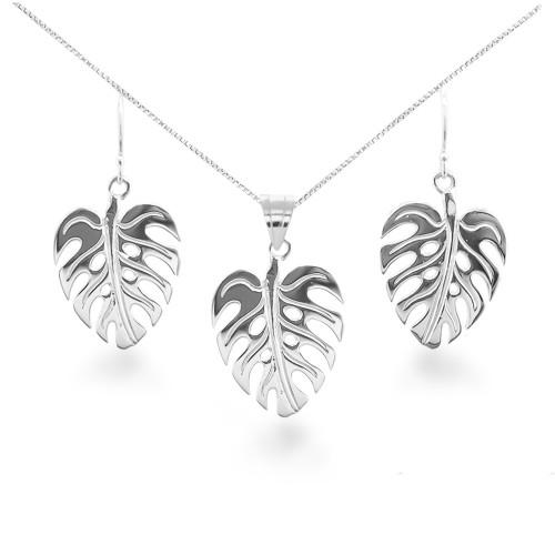 Sterling Silver Hawaiian Monstera Leaf Set