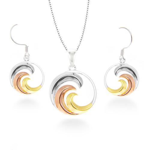 Sterling Silver Tri-Color Nalu Set