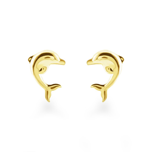 14K Dolphin Stud Earrings